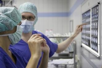 Profesionales sanitarios analizan radiografías
